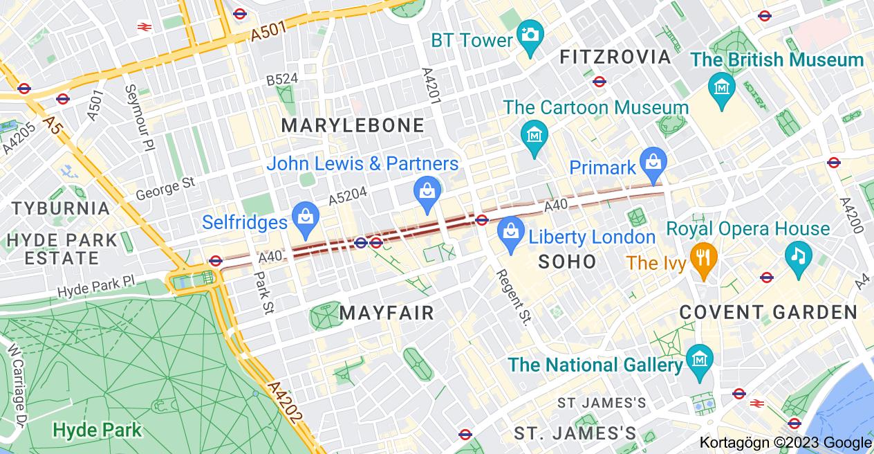 Kort af Oxford St, London, Bretland